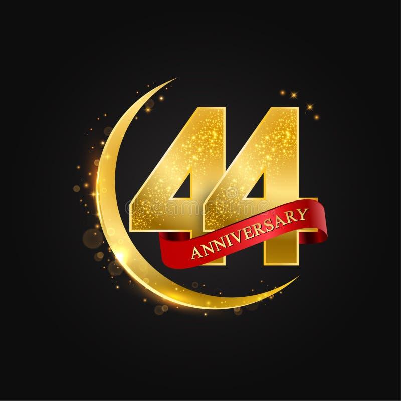 Al Adha Eid 44 έτη επετείου Το σχέδιο με το αραβικό χρυσό, χρυσό μισό φεγγάρι και ακτινοβολεί απεικόνιση αποθεμάτων