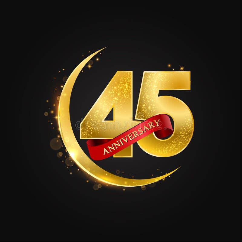 Al Adha Eid 45 έτη επετείου Το σχέδιο με το αραβικό χρυσό, χρυσό μισό φεγγάρι και ακτινοβολεί ελεύθερη απεικόνιση δικαιώματος