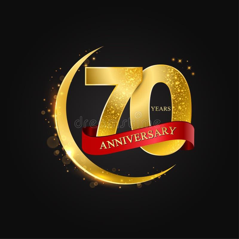 Al Adha Eid 70 лет годовщины Картина с арабским полумесяцем золотых, золота и ярким блеском стоковые фотографии rf