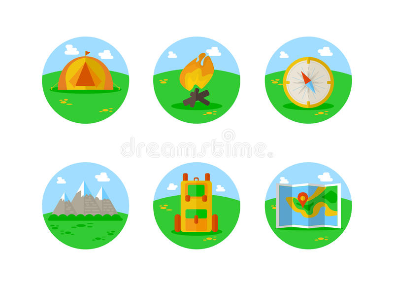 Al aire libre los iconos coloridos que acampaban del turismo fijados de la tienda y de la mochila del mapa de compás aislaron el  libre illustration