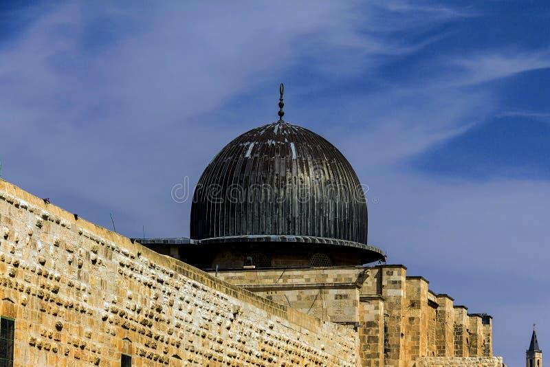 Al Aqsa清真寺,第三回教的圣地在耶路撒冷旧城的圣殿山 耶路撒冷 库存图片