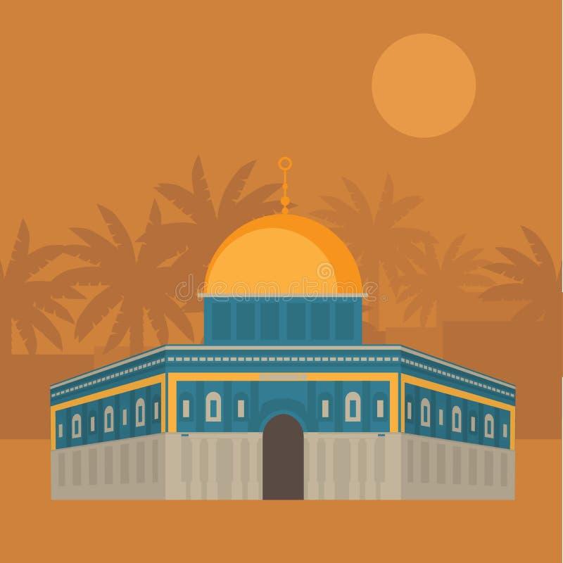 Al-Aqsa Moschee in Jerusalem Haube des Felsens Religios-Architektur vektor abbildung