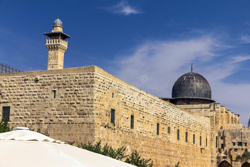 Al Aqsa Mosque, em terceiro lugar o local o mais santamente no Islã em Temple Mount na cidade velha jerusalem imagem de stock