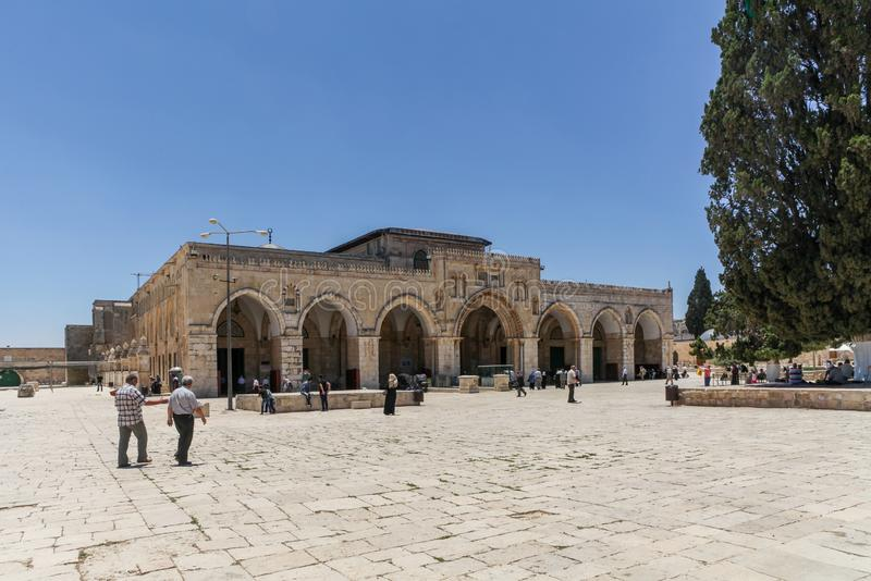 Al Aqsa Mosque, the third holiest site in Islam, located on the Temple Mount in the old town of Jerusalem. Israel royalty free stock photo
