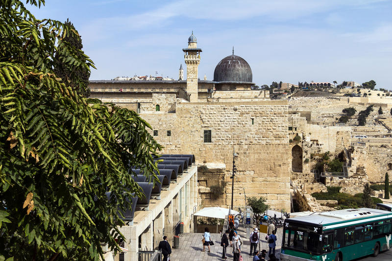 Al Aqsa Mosque, the third holiest site in Islam, with Mount of Olives in the background in Jerusalem,. Israel royalty free stock images