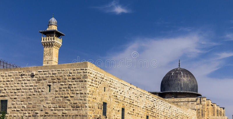 Al Aqsa Mosque, third holiest site in Islam on Temple Mount at the Old City . Jerusalem. Israel. Was built and rebuilt from 705 CE to 1035 and has stood to the royalty free stock photography