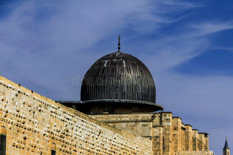 Al Aqsa Mosque, third holiest site in Islam on Temple Mount at the Old City . Jerusalem. Israel. Was built and rebuilt from 705 CE to 1035 and has stood to the stock image