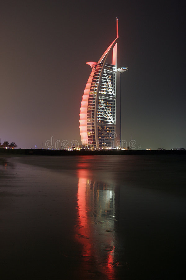 al arabska burj noc obraz royalty free