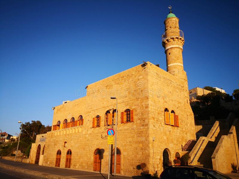 Al Bahr Mosque in  old city Jaffa, Israel stock images