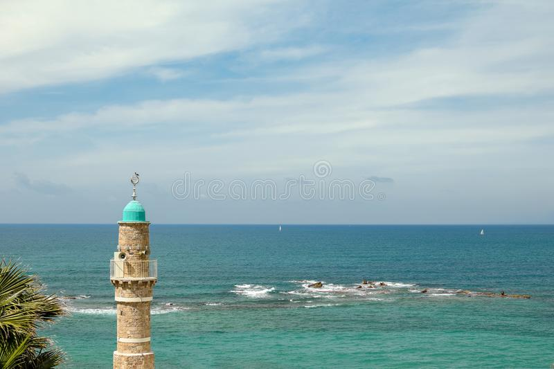 Al-Bahr Mosque in Old City of Jaffa, Tel-Aviv. It is the oldest extant mosque in Jaffa, Israel stock image
