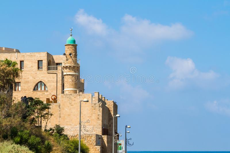 Al--Bahrmoschee oder Seemoschee in altem Jaffa, Israel stockfoto