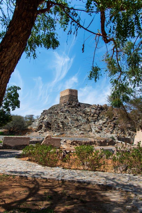 Al Bidiyah Fort im Emirat von Fujairah in UAE stockfotografie