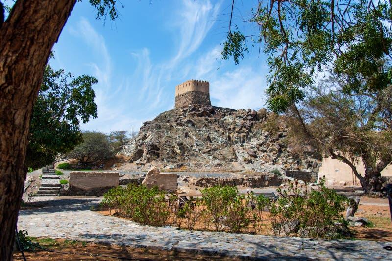 Al Bidiyah Fort im Emirat von Fujairah in UAE lizenzfreies stockbild