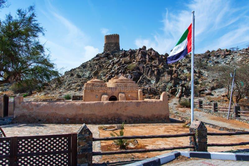 Al Bidya历史清真寺和堡垒在富查伊拉的酋长管辖区在阿拉伯联合酋长国 图库摄影