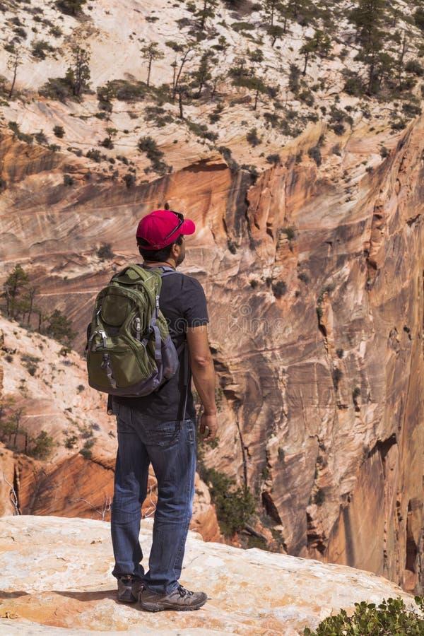 Al borde del barranco - Zion National Park fotos de archivo
