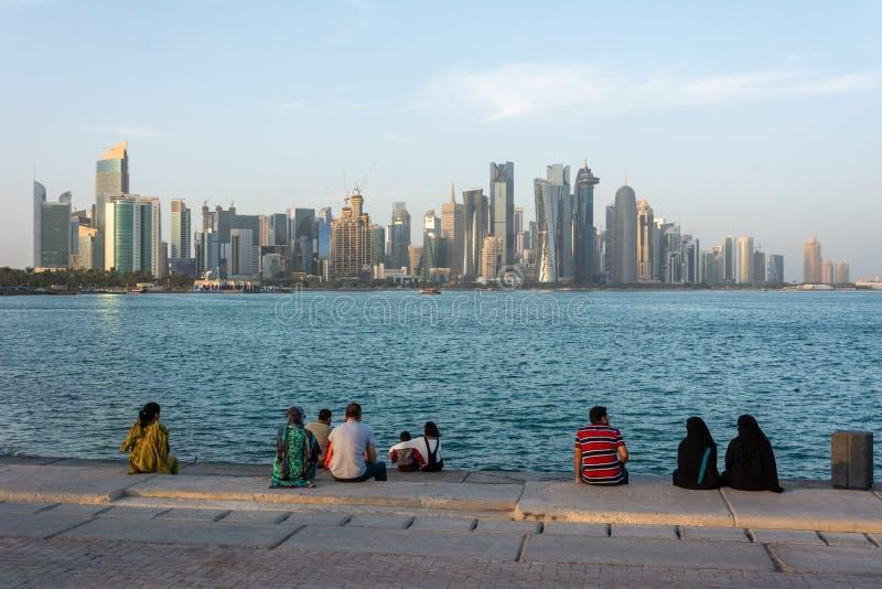 Al Corniche江边在多哈,卡塔尔 库存照片