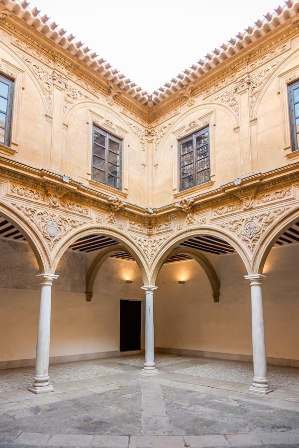 Al cortile in palazzo di Guevara Lorca - in Spagna fotografie stock