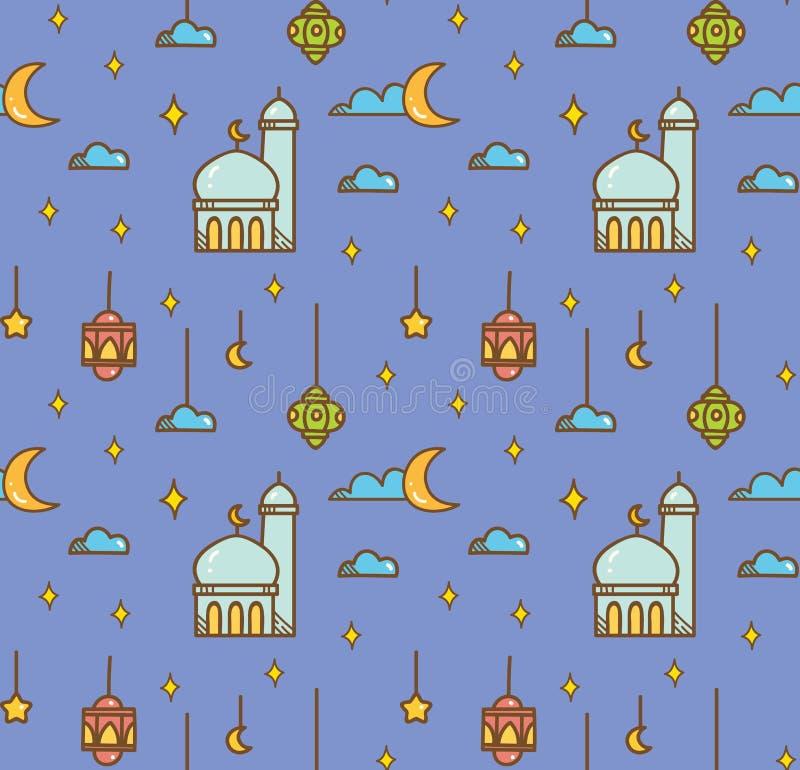 Al Eid fitr ή ramadan υπόβαθρο κινούμενων σχεδίων εορτασμού doodle για στοκ φωτογραφίες με δικαίωμα ελεύθερης χρήσης