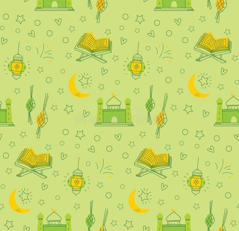 Al Eid fitr ή ramadan υπόβαθρο κινούμενων σχεδίων εορτασμού doodle για στοκ εικόνα