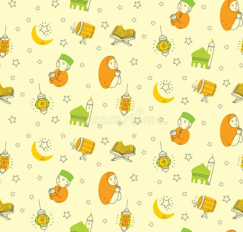 Al Eid fitr ή ramadan υπόβαθρο κινούμενων σχεδίων εορτασμού doodle για στοκ φωτογραφία με δικαίωμα ελεύθερης χρήσης