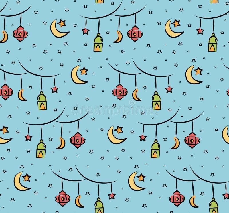 Al Eid fitr ή ramadan υπόβαθρο κινούμενων σχεδίων εορτασμού doodle για στοκ φωτογραφία