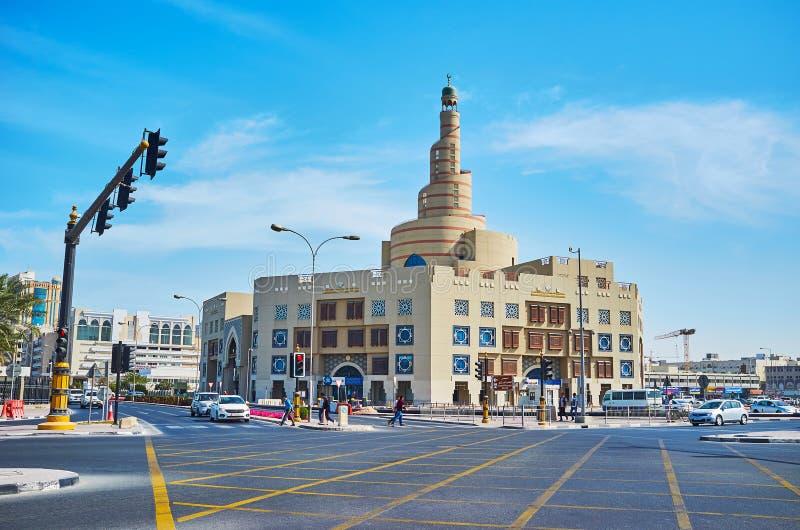 Al Fanar清真寺,多哈,卡塔尔螺旋尖塔  免版税图库摄影