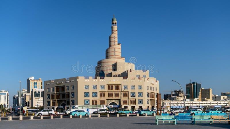 Al Fanar Mosque, gaf de Spiraalvormige Moskee, in Doha, Qatar een bijnaam royalty-vrije stock fotografie