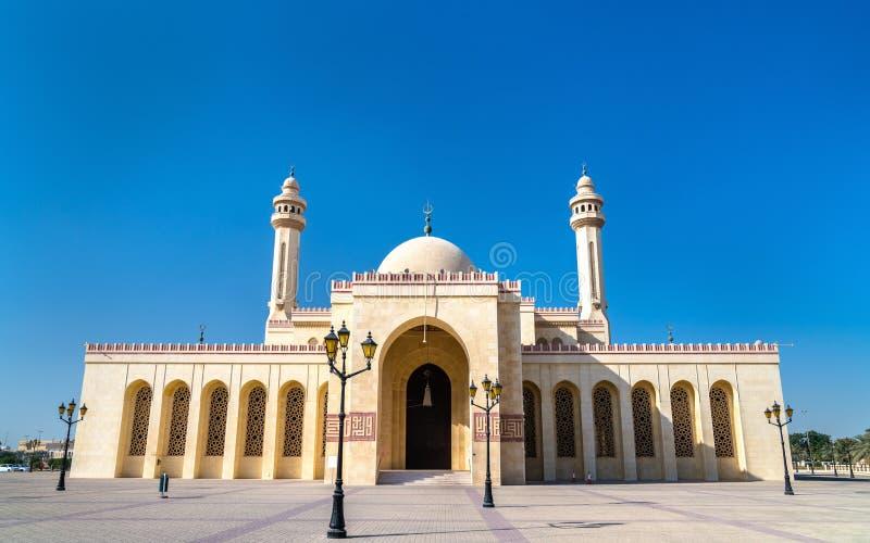 Al Fateh Grand Mosque i Manama, huvudstaden av Bahrain royaltyfri bild
