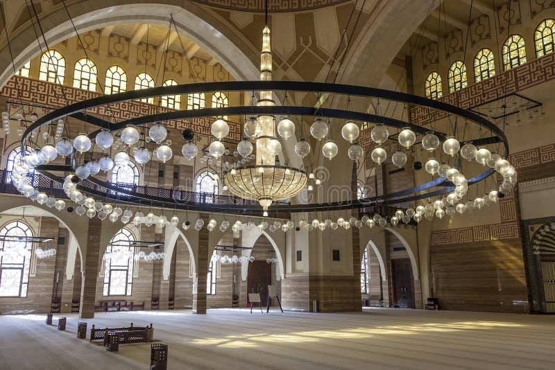 Al Fateh Grand Mosque in Manama, Bahrain. Interior of the Al Fateh Grand Mosque in the city of Manama, Kingdom of Bahrain, Middle East royalty free stock photos