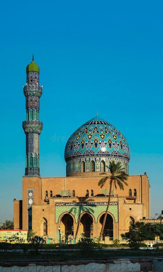 View to Al Fidos aka 17th ramadan Mosque in Baghdad at sunset, Iraq. View to Al Fidos aka 17th ramadan Mosque in Baghdad at sunset Iraq stock photography