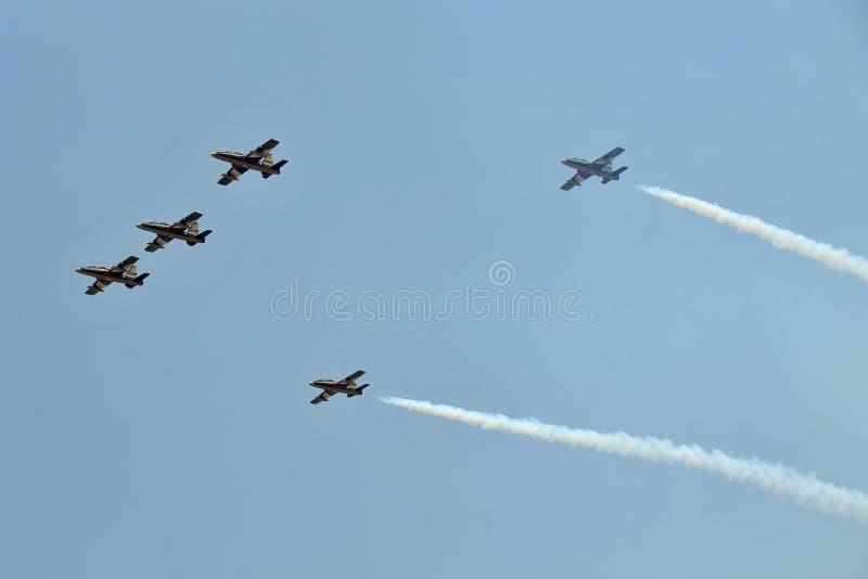 Al Fursan aerobatic lag med det Aermacchi MB-339 flygplanet royaltyfria foton