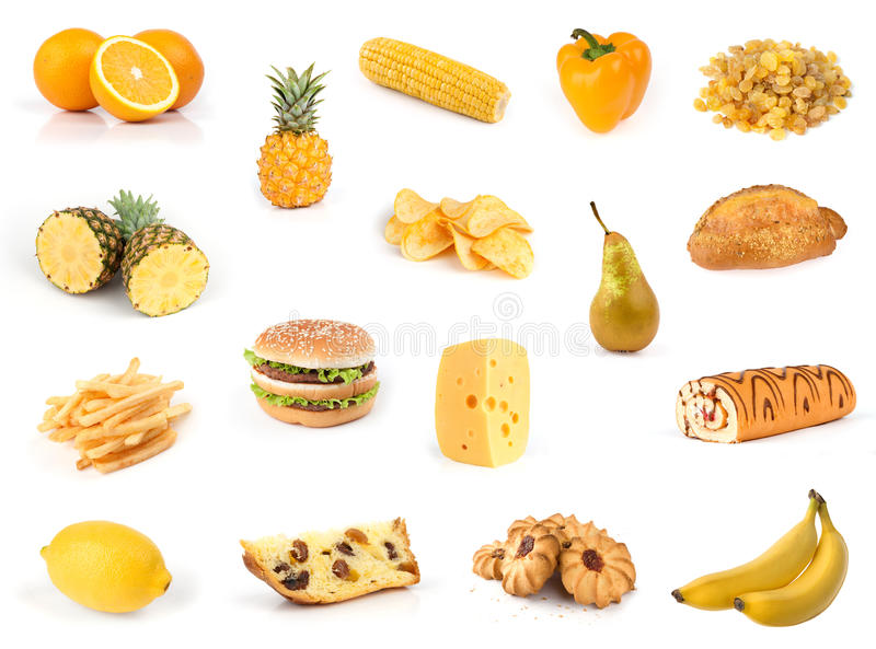 Al geel. De inzameling van het voedsel. stock afbeelding