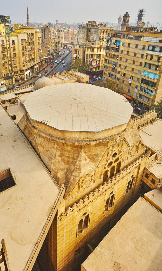 Al-Ghuri Mausoleum from the top, Cairo, Egypt. The view on medieval Sultan Al-Ghuri Mausoleum from the top of the minaret, Cairo, Egypt royalty free stock images