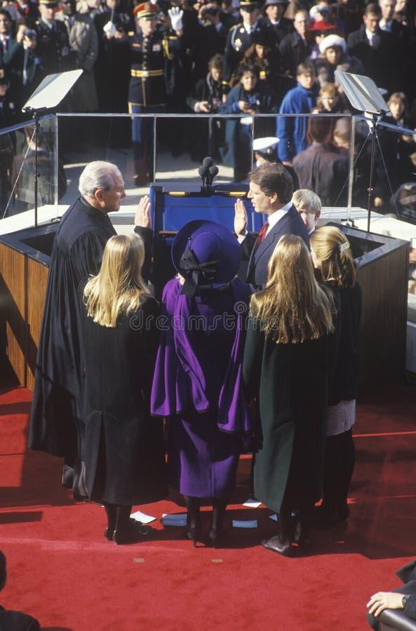 Al Gore, catturante giuramento come vice presidente fotografia stock libera da diritti