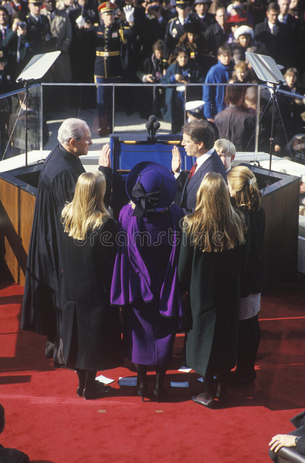 Al Gore, taking oath as Vice President. On Inauguration Day from Chief Justice William Rehnquist on January 20, 1993 in Washington, DC royalty free stock photo