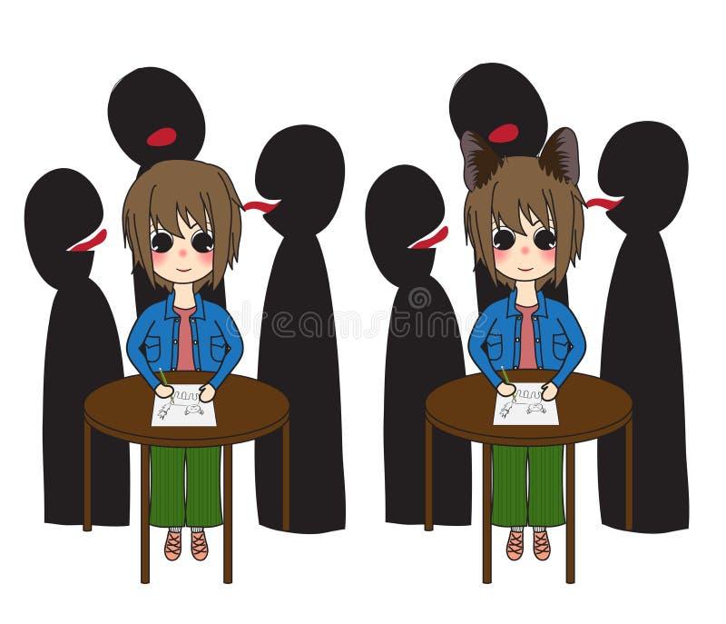 Al grupo de personas tiranizó a la muchacha fuerte del pelo corto de la voluntad con Cat Ears Ilustración del vector Aislado en e libre illustration