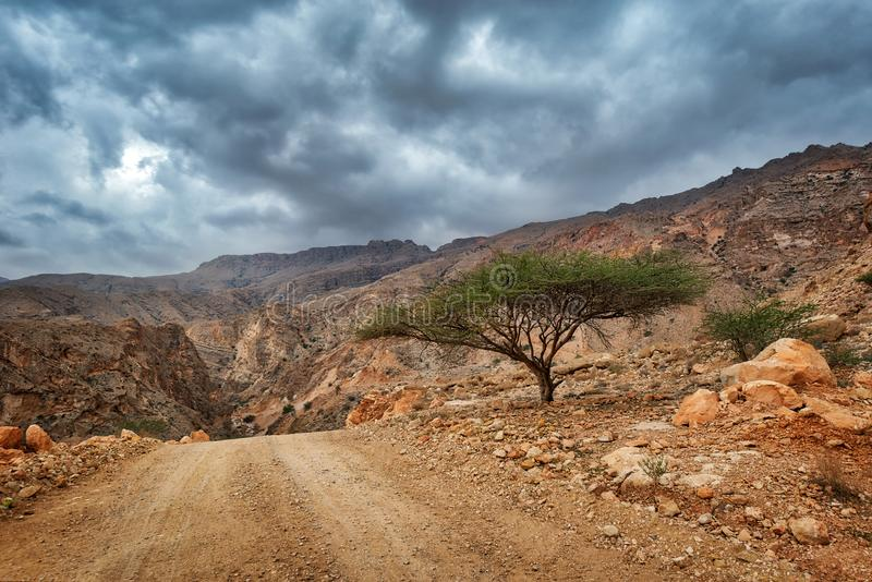 Al Hajar Mountains in Oman stock image