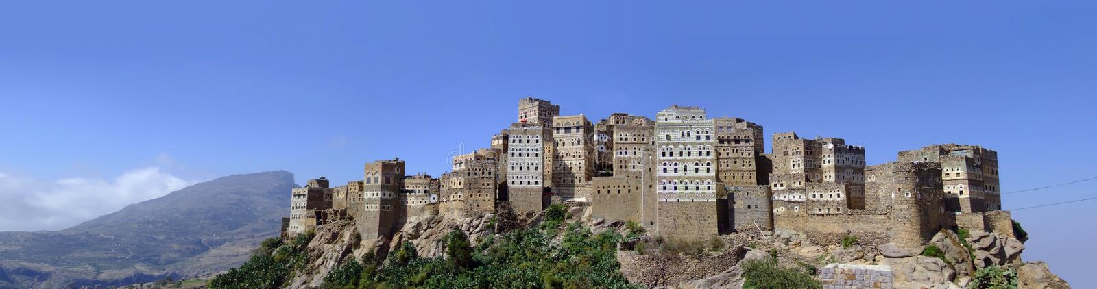 Village panorama in Al Hajarah , Sana'a, Yemen stock photo