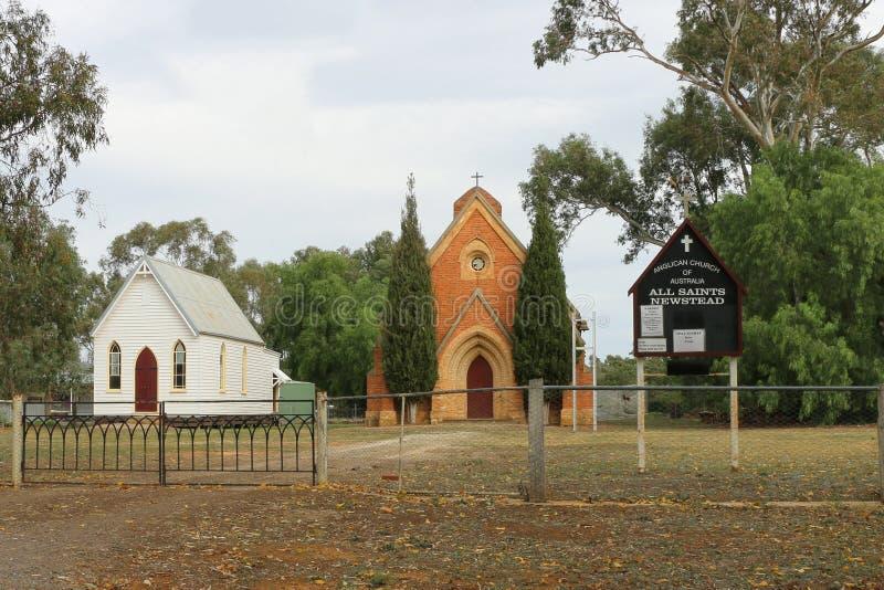 Al Heiligen Anglicaanse Kerk (1868) is ook een trefpunt voor overleg en jollen tijdens jaarlijkse Levende Newstead! Volksfestival royalty-vrije stock foto's