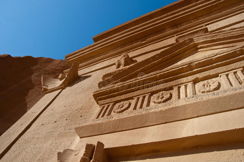 Al Hijr考古学站点Madain萨利赫在沙特阿拉伯 图库摄影