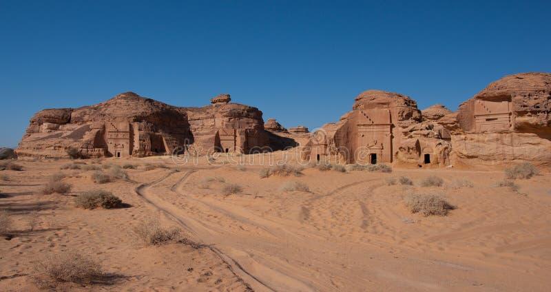Al Hijr考古学站点Madain萨利赫在沙特阿拉伯 库存照片