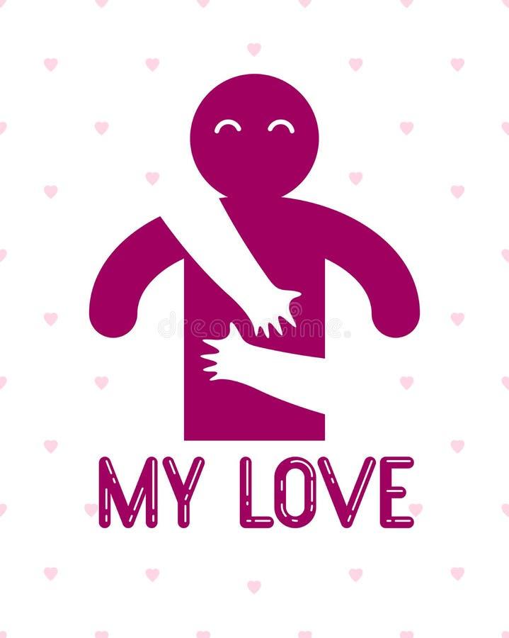 Am? al hombre con las manos del cuidado de una mujer del amante que abrazaba y acaricia su pecho, logotipo del icono del vector o stock de ilustración