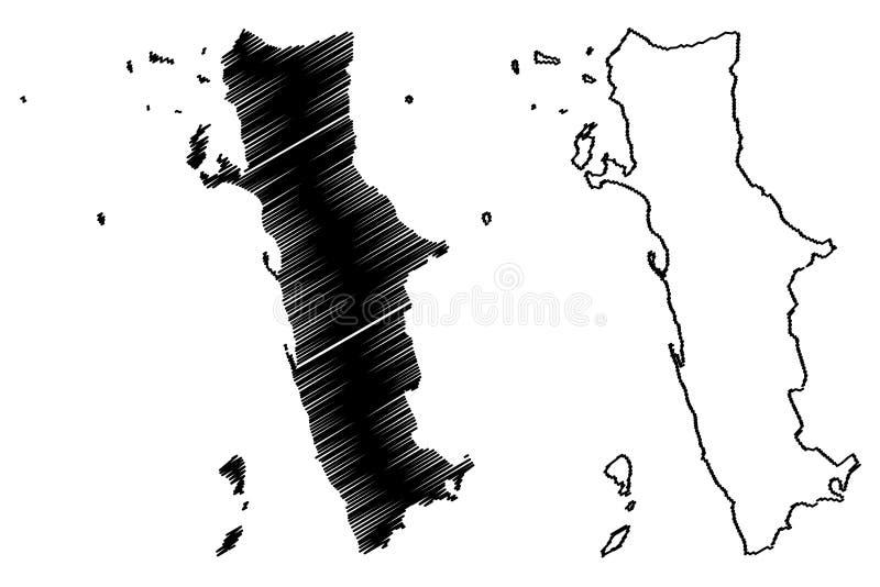 Al Hudaydah Governorate Governorates av Yemen, republiken av illustrationen f?r den Yemen ?versiktsvektorn, klottrar skissar den  stock illustrationer