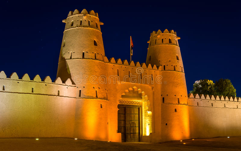 Al Jahili堡垒入口在艾因 免版税库存图片