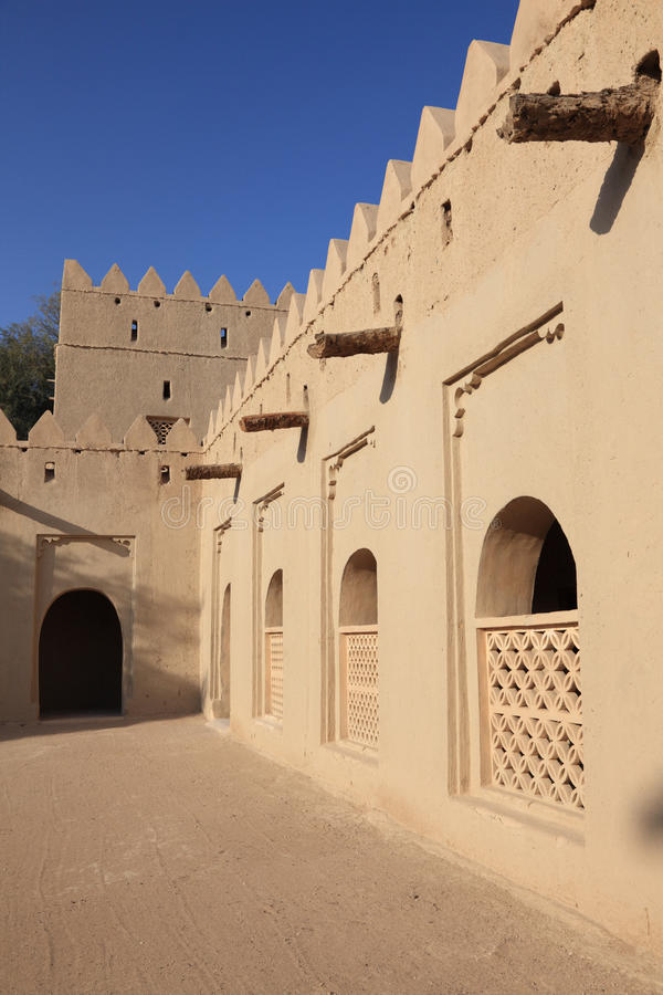 Al Jahili堡垒在Al Ain,阿拉伯联合酋长国 库存照片