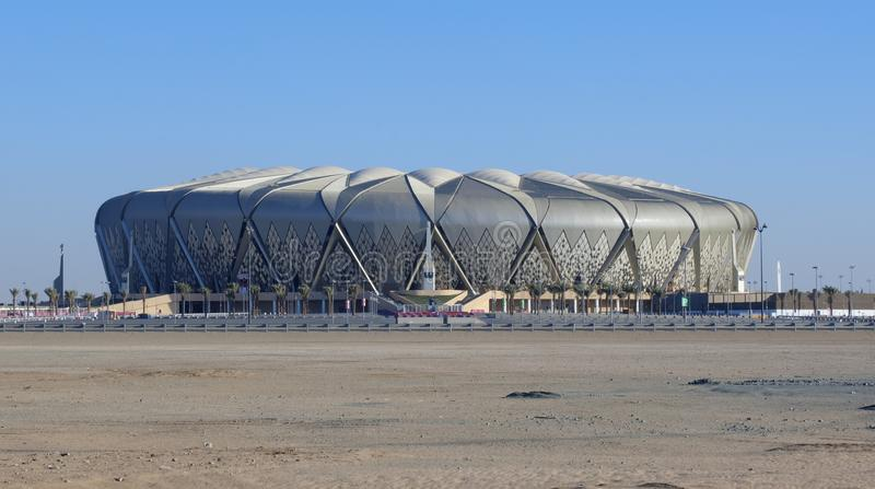 Al Jawhara Football Stadium auf Sunny Day in Dschidda, saudi-arabisch stockbild