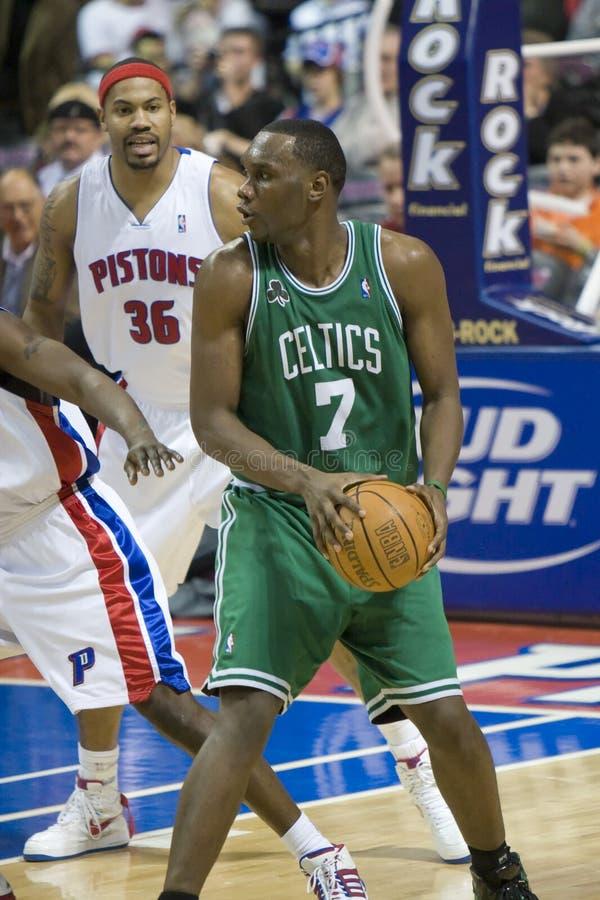 Al Jefferson dei Celtics di Boston. fotografie stock