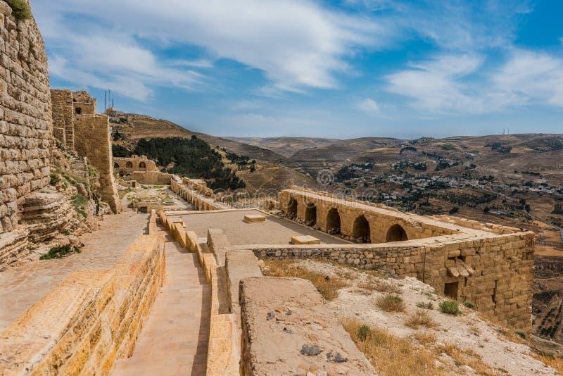 Al Karak kerak crusader castle fortress Jordan. Middle east stock photo