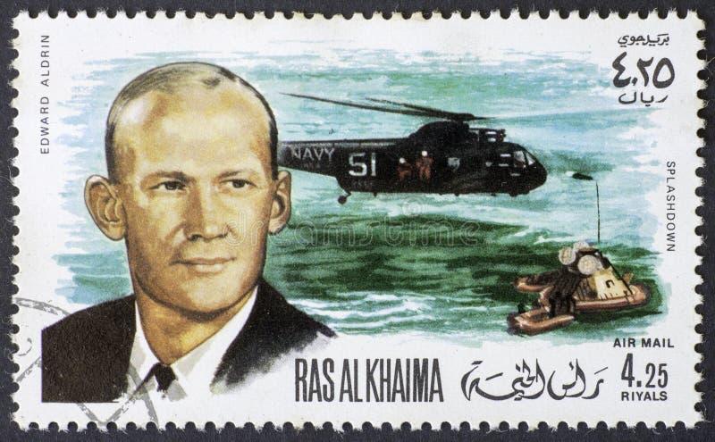 AL KHAIMA RAS - CIRCA 1969: Αποκατάσταση Aldrin του Edward από απόλλωνα 11 στις 15 Αυγούστου 1969, γραμματόσημο του 1969 στοκ φωτογραφία με δικαίωμα ελεύθερης χρήσης