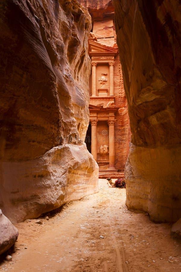 Al Khazneh或在Petra的金融管理系统 免版税库存照片